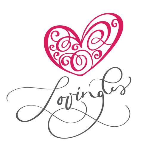 Texto e coração de Lovingli. Te amo cartão postal vetor