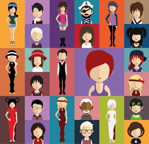 Avatar de pessoas com variações de corpo inteiro e torso vetor