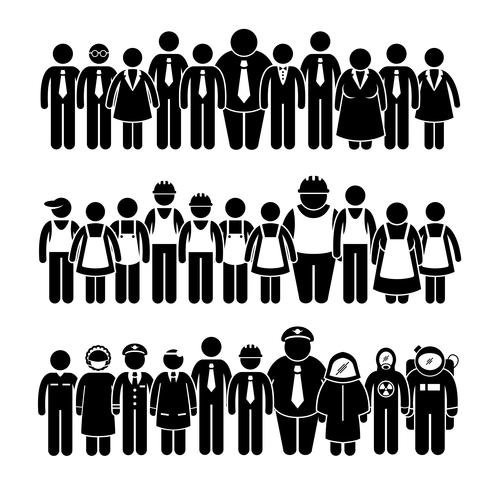Grupo de trabalhador dos povos da figura ícones diferentes da vara da profissão do pictograma. vetor