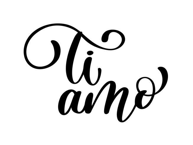 Eu te amo em italiano. Ti amo cartão postal vetor