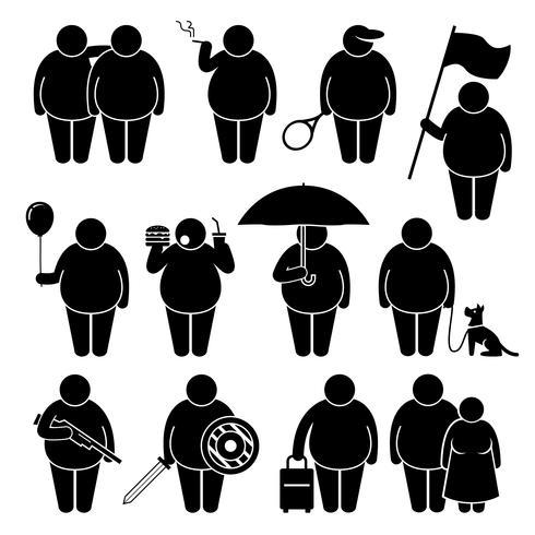 Homem gordo segurando usando vários objetos Stick figura pictograma ícones. vetor