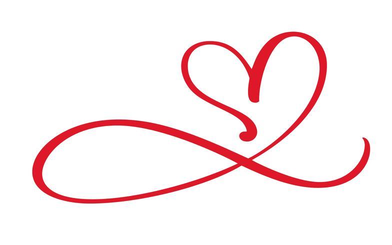 Coração amor floreio sinal para sempre. Infinito símbolo romântico ligado, juntar, paixão e casamento. Modelo para t-shirt, cartão, cartaz. Elemento plano de design do dia dos namorados. Ilustração vetorial vetor