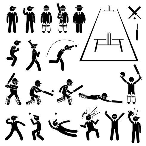 Ações de jogador de críquete posa Stick Figure pictograma ícones. vetor