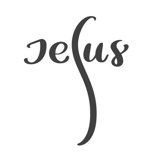 Mão, desenhado, jesus, lettering, texto vetor