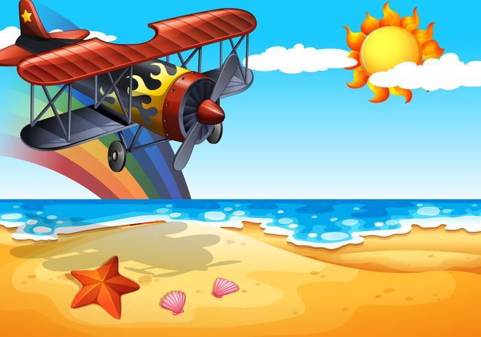 Avião e praia vetor