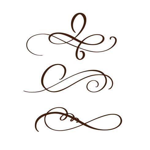 hand drawn flourish separator Elementos de caligrafia. Ilustração vetorial vetor