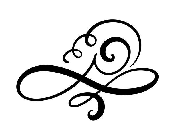 O flourish floral do elemento da caligrafia do vetor, o divisor para a decoração da página e o quadro projetam o redemoinho da ilustração. Silhueta decorativa para cartões de casamento e convites. Flor vintage vetor