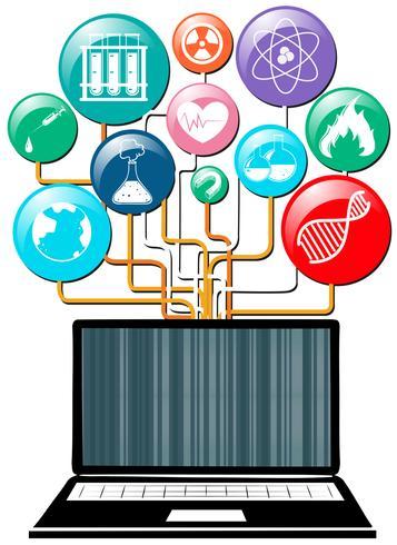 Símbolos de computador portátil e ciência vetor