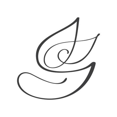 Ilustração da caligrafia do projeto do molde do logotipo do vetor da folha do vegetariano da natureza, projeto da comida. Letras manuscritas para restaurante, menu de café cru. Elementos para rótulos, logotipos, emblemas, adesivos ou ícones