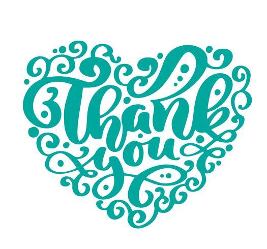 Obrigado texto coração inscrição manuscrita. Citação de casamento mão desenhada letras. Caligrafia de amor Cartão de agradecimento. Ilustração vetorial vetor