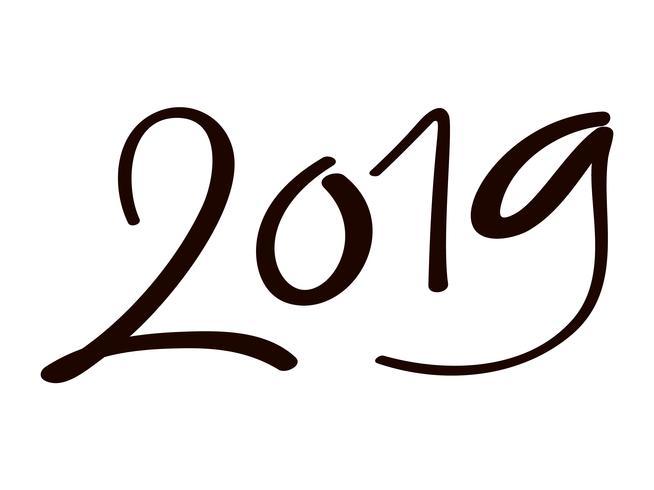 Modelo de design de cartão com caligrafia chinesa 2019 ano novo grunge número 2019 mão desenhada letras. Ilustração vetorial vetor