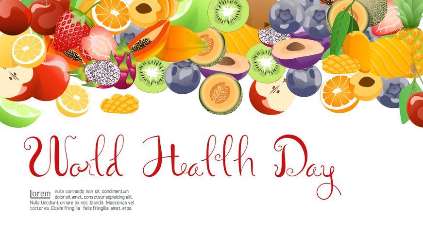 Coleção de frutas para o dia mundial da saúde. vetor