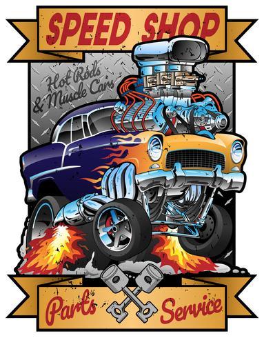 Peças do carro do músculo do hot rod da loja da velocidade e vetor do sinal da garagem do vintage do serviço