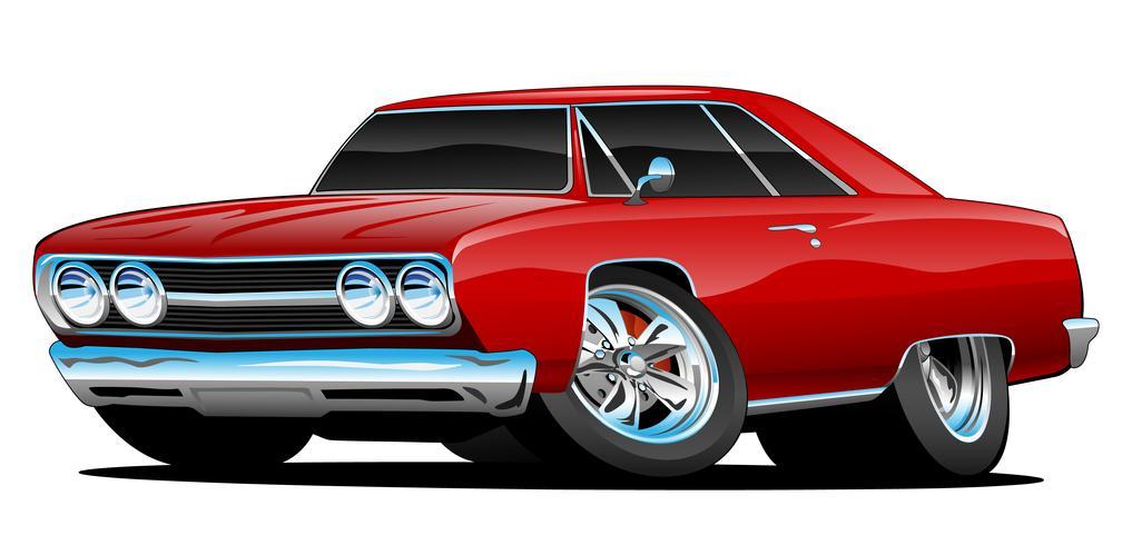 Ilustração em vetor Cartoon clássico vermelho quente carro Coupe Muscle