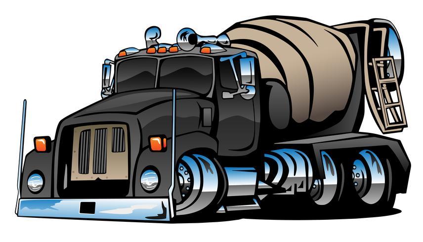 Ilustração em vetor desenho animado caminhão betoneira