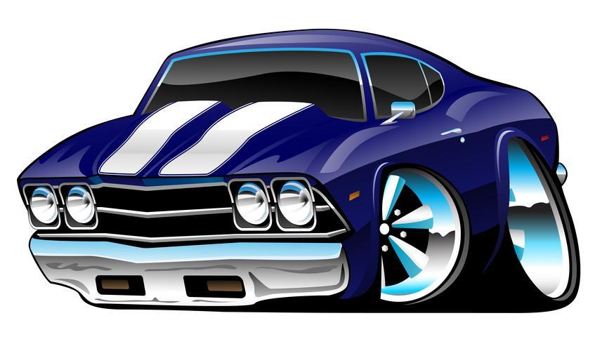 Cartoon clássico American Muscle Car, azul profundo, ilustração vetorial vetor