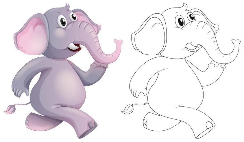 Doodle animal para elefante vetor