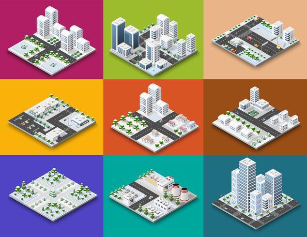 Criador de módulo de cidade conceito isométrica de urbano vetor