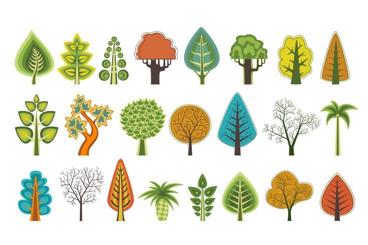 Um conjunto de silhuetas planas de árvores de vetor