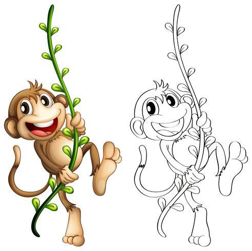 Contorno animal para macaco na videira vetor