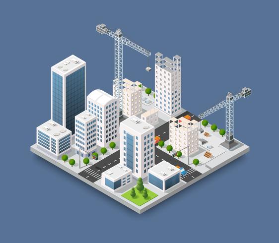 Indústria industrial pesada do guindaste de construção com arranha-céus, vetor