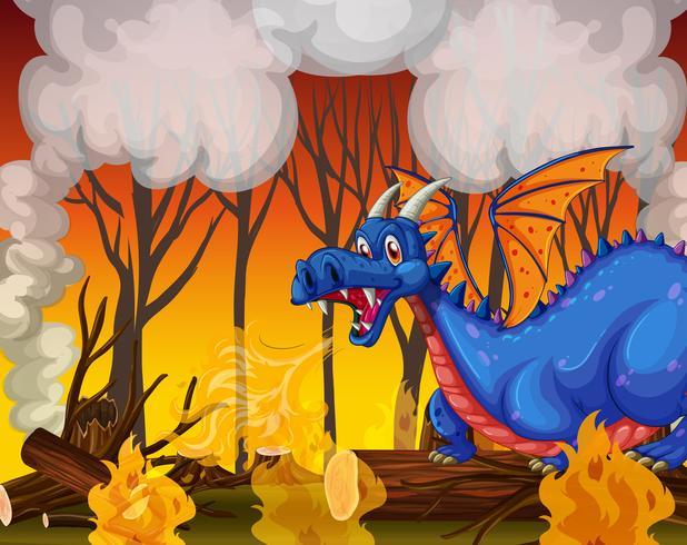 Dragão enterrando a floresta vetor
