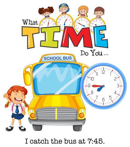 Uma garota pegar o ônibus às 7:75 vetor