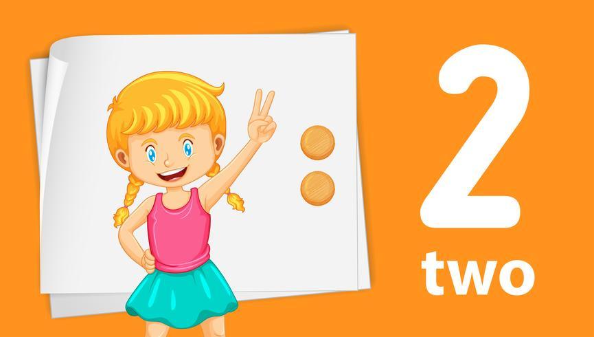 Menina, mostrando, numere dois vetor