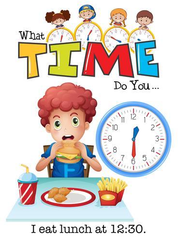 Um menino almoçando às 12:30 vetor