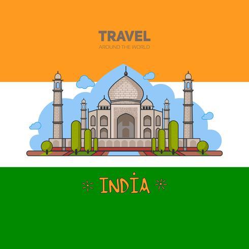 Palácio indiano no teste padrão sem emenda do fundo e no fundo da bandeira. vetor