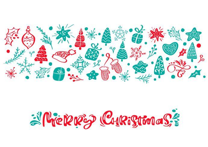 Feliz Natal vector caligrafia letras de texto. Cartão escandinavo de Natal. Entregue a ilustração desenhada de um elementos engraçados bonitos do inverno. Objetos isolados
