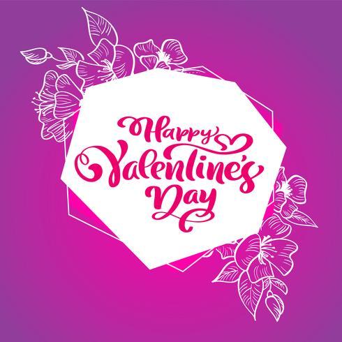 Frase de caligrafia feliz dia dos namorados com floresce e corações vetor