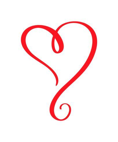 Vector vermelho dia dos namorados mão desenhada coração caligráfico. Dia dos namorados de elemento de Design de férias. Decoração de amor de ícone para web, casamento e impressão. Isolado, caligrafia, lettering, ilustração
