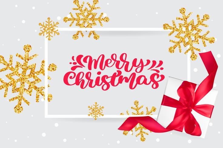 Feliz Natal vermelho vintage caligrafia letras vector texto no cartão de Natal com flocos de neve dourados e caixa de presente de saudação. Para a página de lista de design de modelo de arte, brochura de maquete
