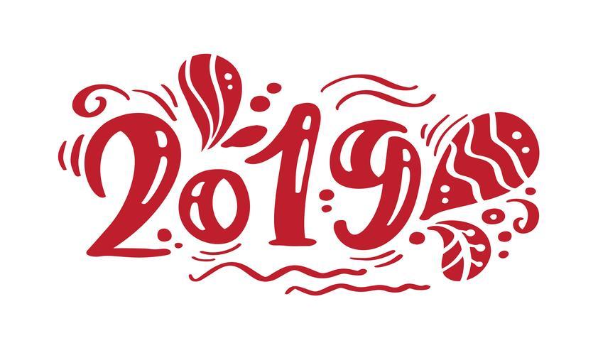 Texto de natal de vetor de rotulação de caligrafia vintage 2019 vermelho. Para a página de lista de design de modelo de arte, estilo de brochura de maquete, capa de ideia de bandeira, folheto de impressão de livreto, cartaz