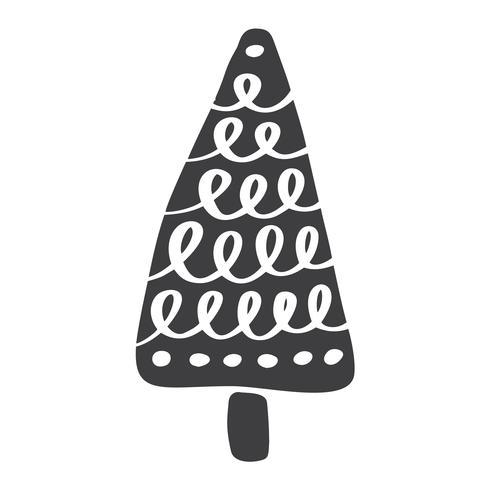 Silhueta de ícone de vetor de árvore de Natal. Símbolo de contorno simples. Isolado no kit de sinal web branco de abeto estilizado. Imagens de desenho escandinavo Handdraw