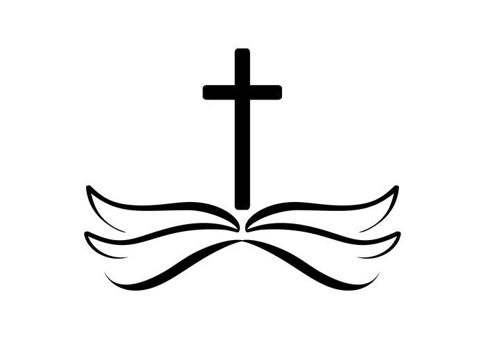 Ilustração do vetor do logotipo cristão. Emblema com cruz e Bíblia Sagrada. Comunidade religiosa. Elemento de design para cartaz, logotipo, distintivo, sinal