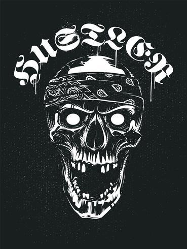 Crânio de grunge em Bandana com tipografia Hustler vetor