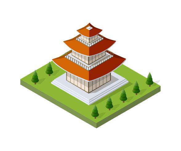 Edifício pagode chinês vetor