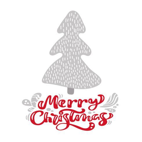Árvore de abeto escandinavo de ilustração desenhada mão. Texto da rotulação do vetor da caligrafia do Feliz Natal. cartão de natal. Objetos isolados