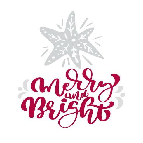 Texto de letras de Natal de caligrafia feliz e brilhante. Cartão escandinavo do Xmas com a estrela tirada mão da ilustração do vetor. Objetos isolados vetor