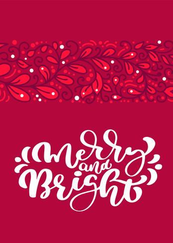 Texto escandinavo alegre e brilhante da rotulação da caligrafia do vetor do Natal no projeto de cartão vermelho. Ilustração tirada mão do Xmas com fundo floral da textura. Objetos isolados