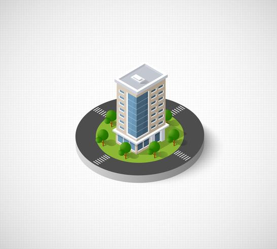 Cidade 3D isométrica vetor