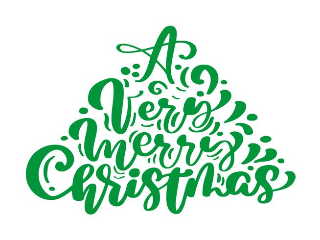 Um texto do vetor da rotulação da caligrafia do vintage do verde do Feliz Natal muito no formulário da árvore de abeto. Para a página de lista de design de modelo de arte, estilo de brochura de maquete, capa de ideia de bandeira, folheto de impressão de l