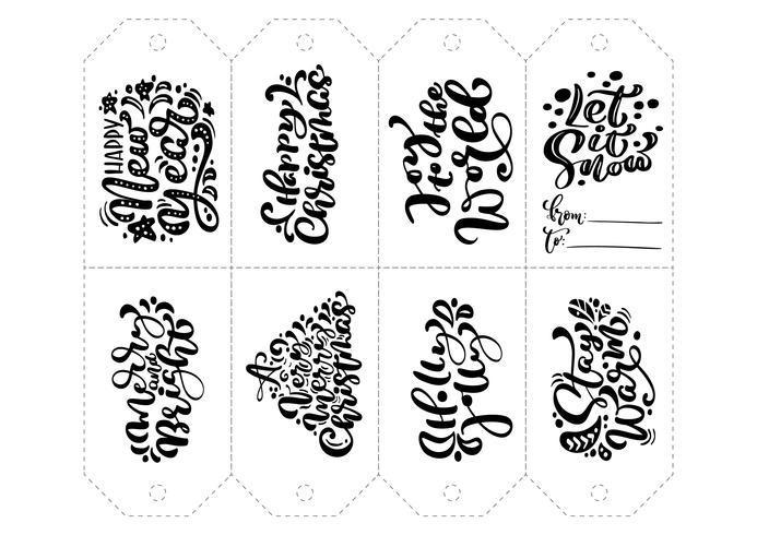 Caligrafia de vetor definido de frases para tags. Mão isolada do Natal tirada rotulando a ilustração. Cartão do projeto do doodle do esboço do feriado do coração. decoração para impressão e decoração