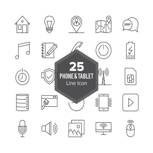 Conjunto de ícones de linha de telefone e tablet vetor