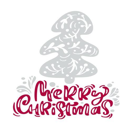 Feliz Natal caligrafia letras de texto. O cartão escandinavo do Xmas com a ilustração tirada mão do vetor estilizou a árvore de abeto. Objetos isolados