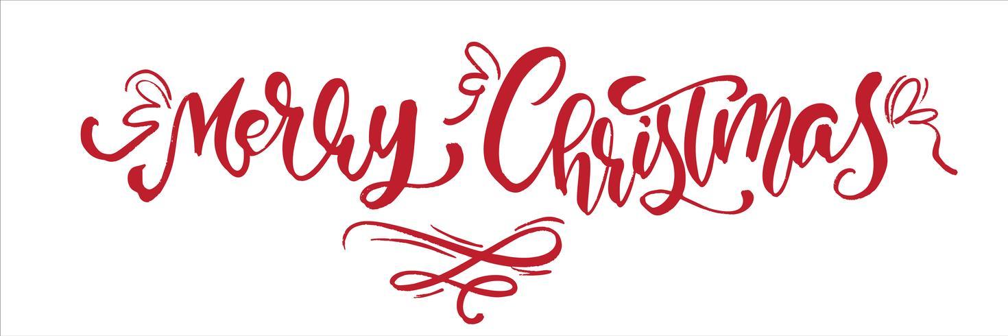 Texto do vetor da rotulação da caligrafia do vintage do Feliz Natal vermelho. Para a página de lista de design de modelo de arte, estilo de brochura de maquete, capa de ideia de bandeira, folheto de impressão de livreto, cartaz