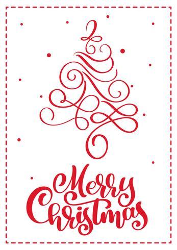 Cartão escandinavo do Natal com texto da rotulação da caligrafia do Feliz Natal. Mão desenhada ilustração vetorial da árvore de Natal vintage. Objetos isolados vetor