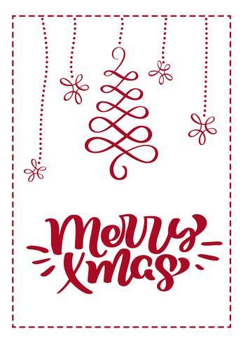 Cartão escandinavo do Natal com texto alegre da rotulação da caligrafia do xmas. Mão desenhada ilustração vetorial de floreios. Objetos isolados vetor